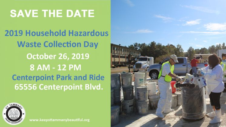 2019 Household Hazardous Waste Collection Day Just Over one Month Away