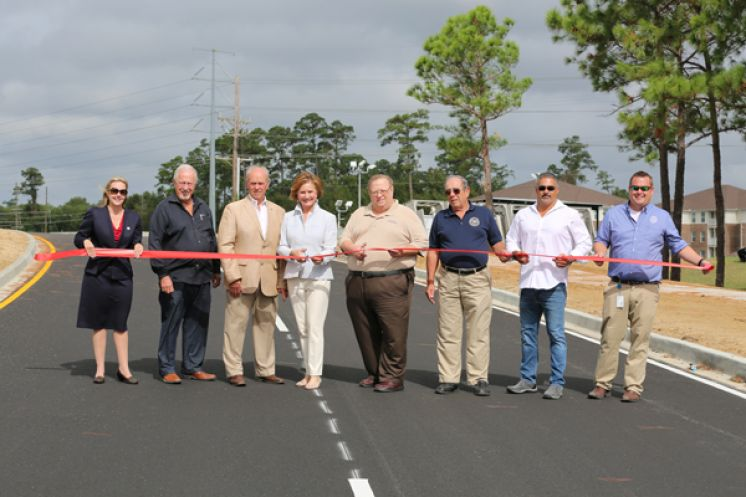 PHOTO LEFT TO RIGHT: S. Michele Blanchard, St. Tammany Parish Council Vice Chairman, District 13; Shannon Davis, Director, St. Tammany Parish Department of Public Works; Freddy Drennan, Mayor, City of Slidell; Pat Brister, St. Tammany Parish President; Jerry Binder, St. Tammany Parish Councilman, District 12; Val Vanney Jr., Councilman District D, City of Slidell; Mike Noto, Assistant Director of Public Works-Operations, St. Tammany Parish Government; Christopher Corvers, Project Manager/QC, Department of PW/Engineering, St. Tammany Parish Government