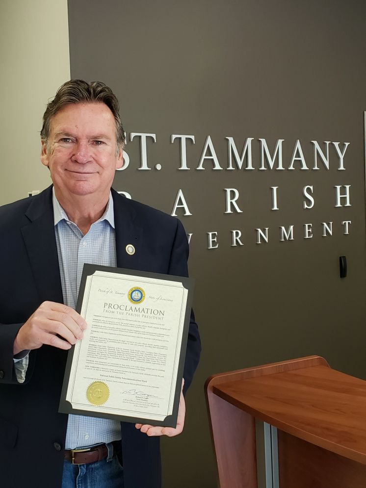 St. Tammany Parish President Mike Cooper Recognizes Emergency Dispatchers During National Public Safety Telecommunicators Week