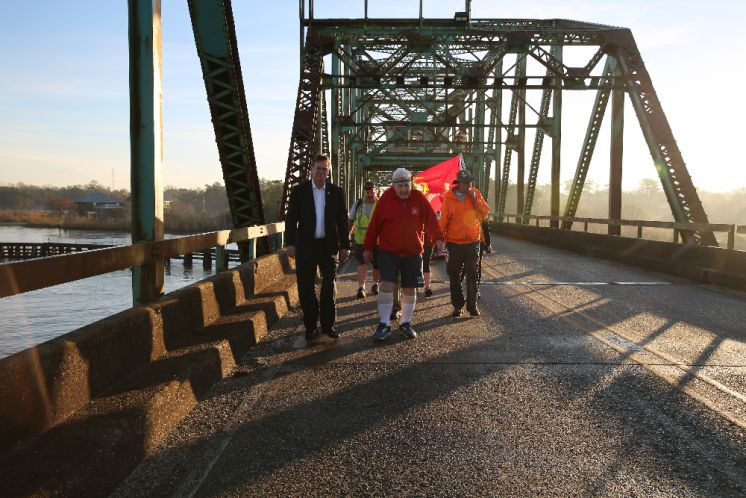Mike Cooper, St. Tammany Parish President, and Randy Smith, St. Tammany Parish Sheriff Join WWII Veteran Ernie Andrus on a Portion of his Cross Country Hike