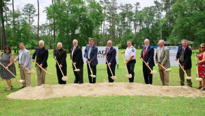Parish President Cooper joined by Governor Edwards and Archbishop Aymond to break ground on the Safe Haven Training and Education Center